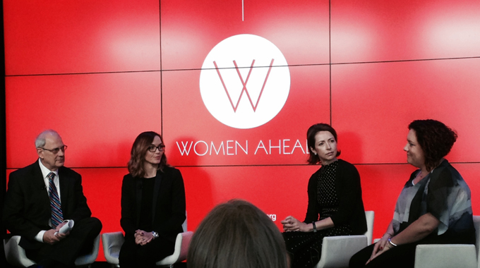 The discussion panel at the Women Ahead program launch was chaired by Georgie Thompson, and featured mentoring expert David Clutterbuck, Olympian Victoria Pendleton, Helena Morrisey CBE and CEO of Newton Investment Management, and Ruth Holdaway, CEO of the Women's Sport and Fitness Foundation