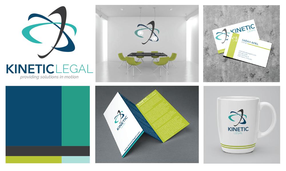 Kinetic Legal: Logo design, color schemes, fonts, graphic design mockups.