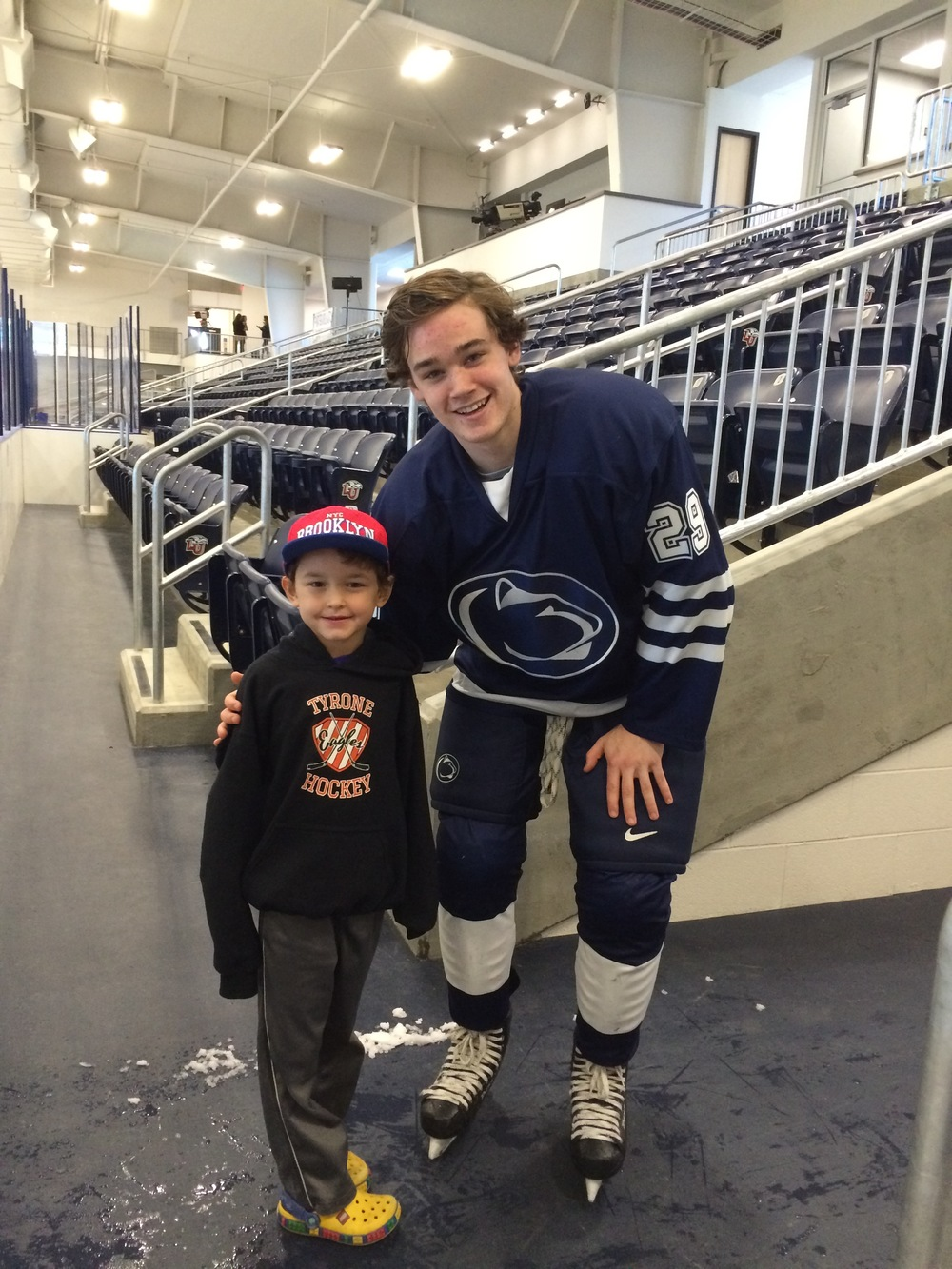 Ice Lion Ambrose Aquadro grew up playing roller hockey in Tyrone.  Here he is pictured with Tyrone youth hockey player Elah Glenny.