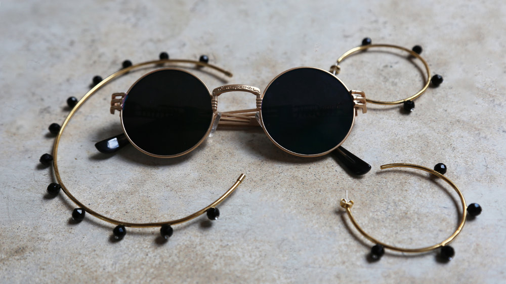 A. Carnavale 'Oh So Pretty' neck cuff and 'Oh So Pretty' hoops paired with vintage sunglasses.