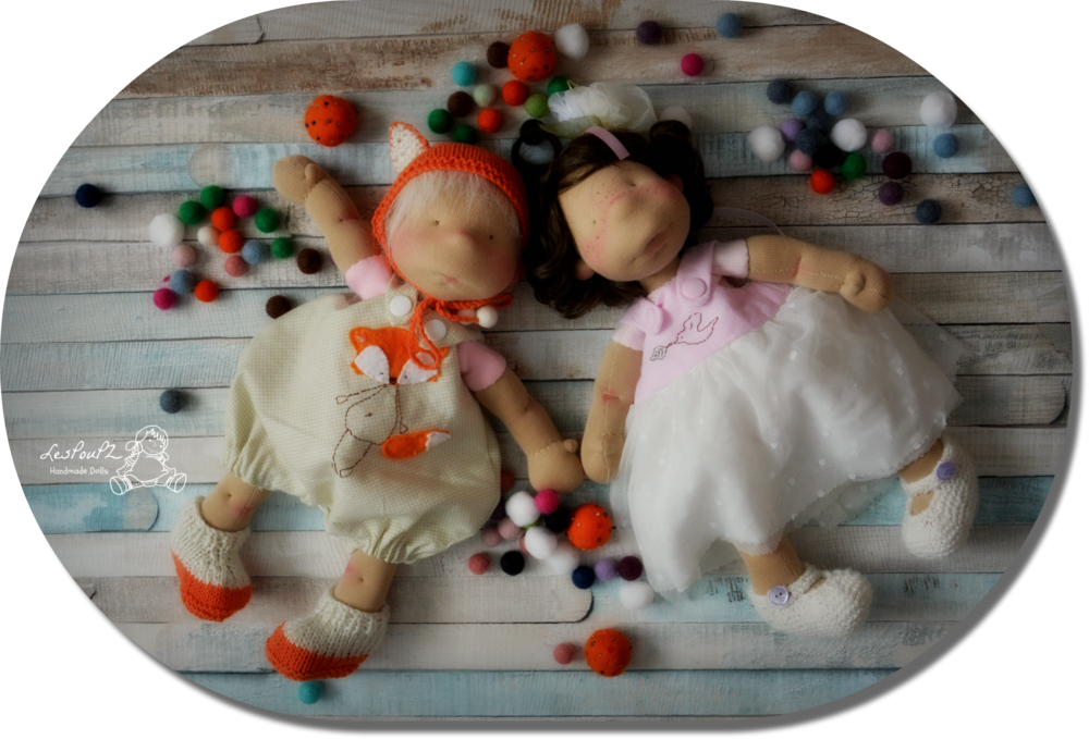 hese two little puppets helped me model some new clothes for another Petit Pois sister