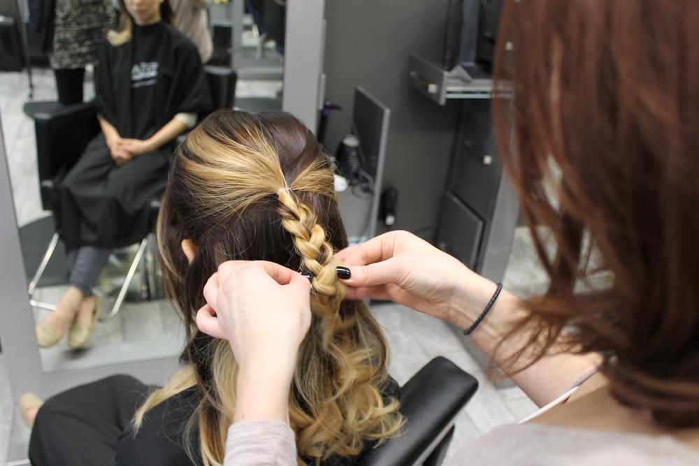 braided updo, holiday hair, balayage, spark salon, jaclyn blumenberg, heather klement, holiday hair, trendy hair
