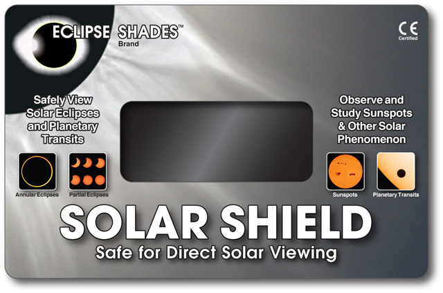 "Solar Shield - Safe for Direct Solar Viewing - 5.5"" X 8.5"" - Black Polymer Lens     Shop Here"