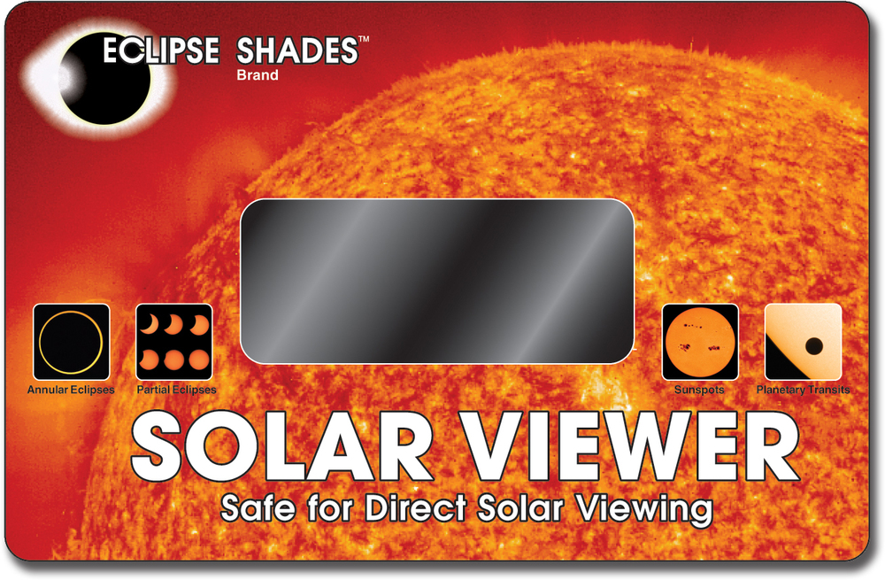 "Solar Viewer - Optical Coated Glass Lens - Quality Viewing of Solar Eclipses and Sun Spots. - 5.5"" X 8.5""     Shop Here"