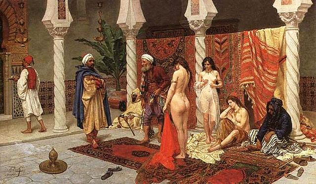 Giulio Rosati  ,   Inspection of New Arrivals  , 1858–1917,   Circassian beauties   being inspected