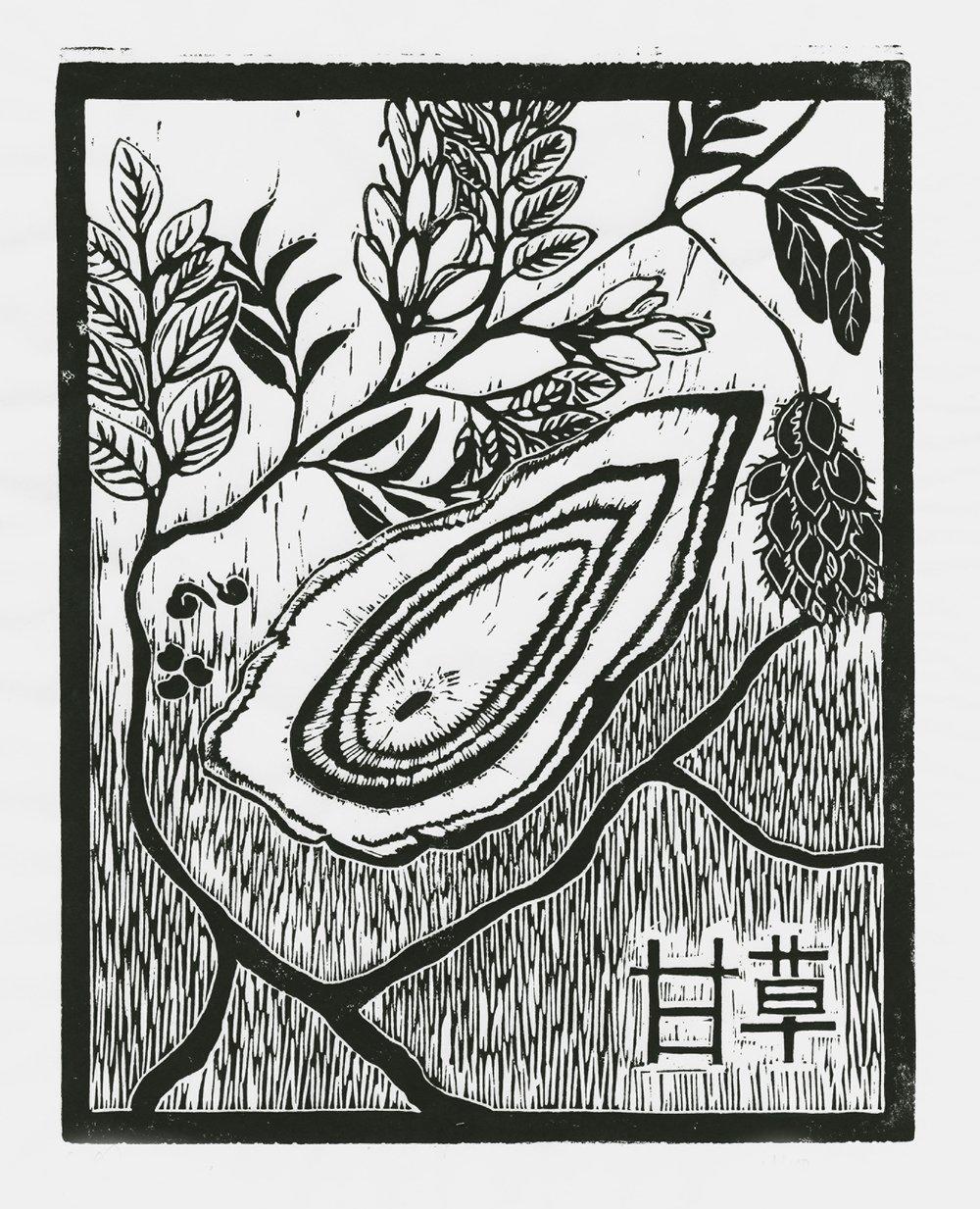 Gancao, linoleum print by Maria Hicks