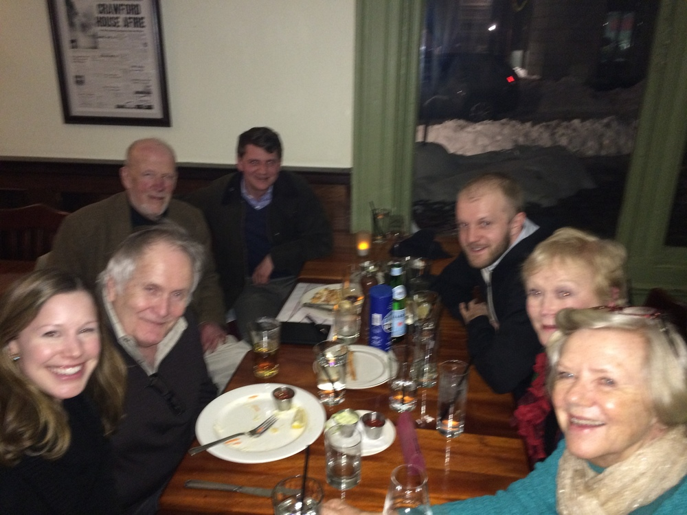 Dinner after the Common Threads event, clockwise from left: Laurin Macios, Fred Marchant, David Ferry, Joseph Hollow, Mitch Manning, Alice Kociemba, Jacquelyn Malone