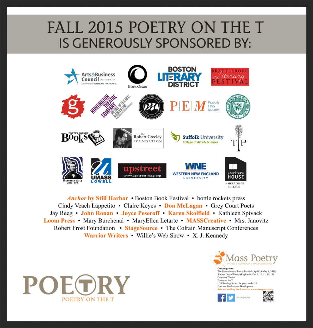 Sponsors of Fall 2015 Poetry on the T