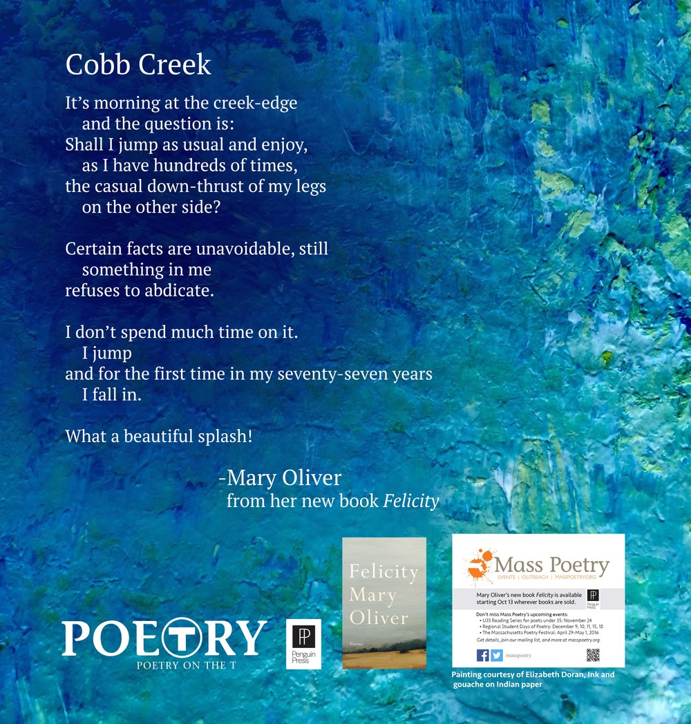 "Mary Oliver, ""Cobb Creek"""