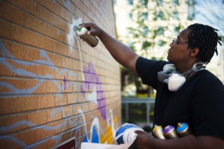 "Cedric Douglas ""UpWalls"" Creative City project; photo courtesy Northeastern University."