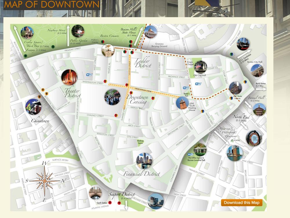 Downtown Boston Map Design Caroline Robinson Smith