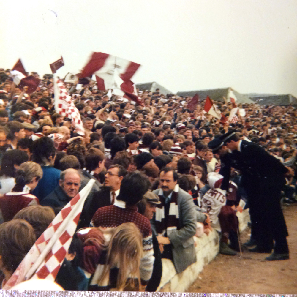 Hearts fans before the match