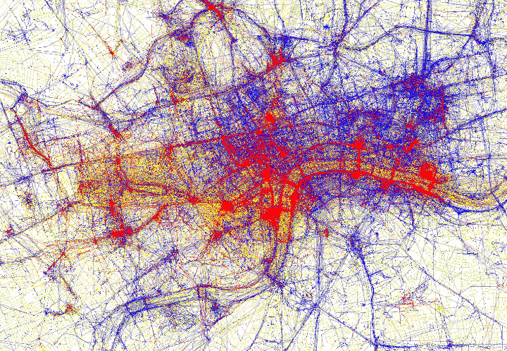 London photographed by tourists (red) and locals (blue)