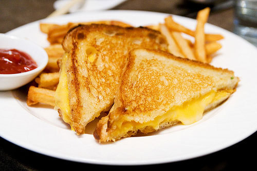 Grilled Cheese Sandwich and French Fries