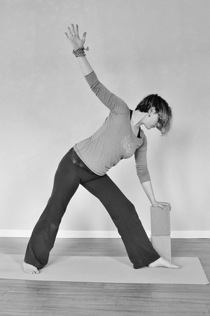 Triangle pose with block Trikonasana