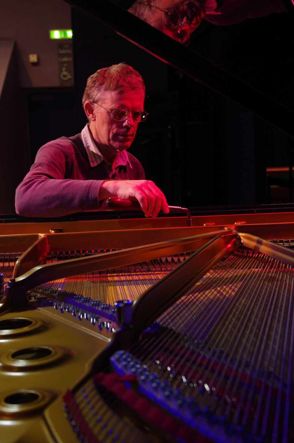 Joe tuning the Steinway Grand Piano at the Stables Theatre for a very famous person but we are not allowed to tell you who!