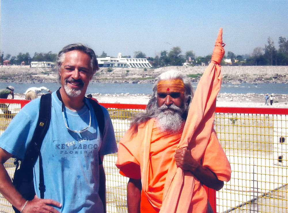 Dana Sawyer and Swami Narayanand Saraswati in Rishikesh, India