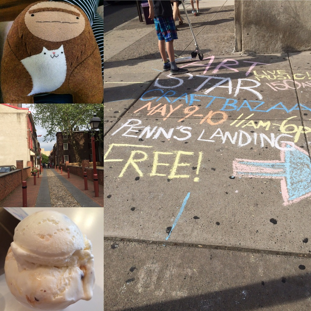 "This Sasquatch + catloaf is now mine <3 / Chalk art directions / A (delish) Old City ice cream flavor named ""The WHYY Experience"" / Elfreth's Alley, the oldest continuously inhabited street in the US"