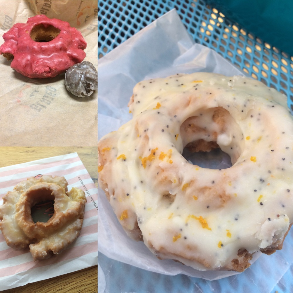 Raspberry Old-Fashioned (and a chocolate cake munchkin!) from Glazed and Infused | Orange/Lemon Poppy Old-Fashioned from Firecakes | Old-Fashioned from Stan's Donuts