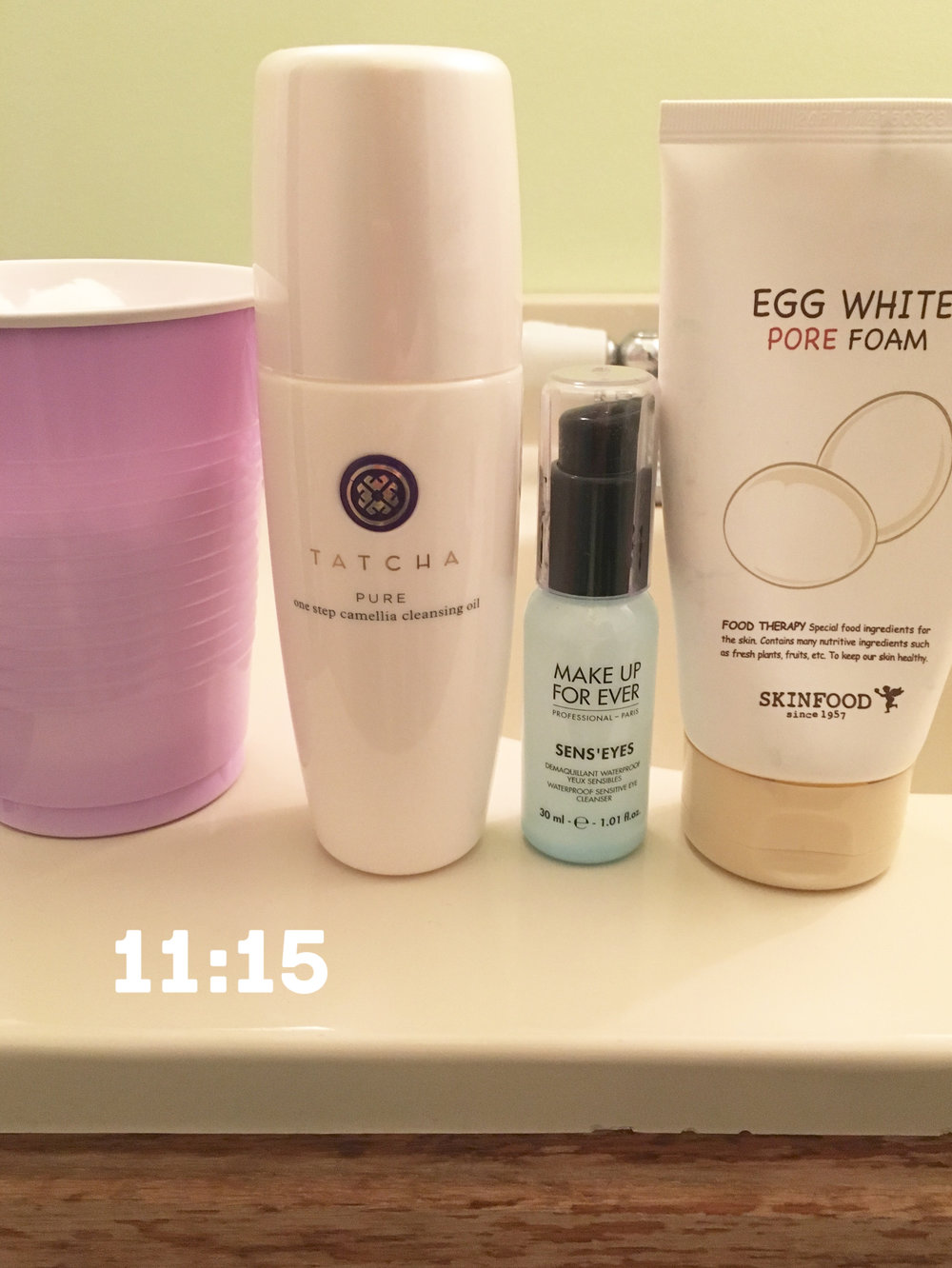 Cup o' cotton balls |  Tatcha Pure Camellia Cleansing Oil  |  Make-Up Forever Sens'Eyes  |  Skinfood Egg White Pore Foam