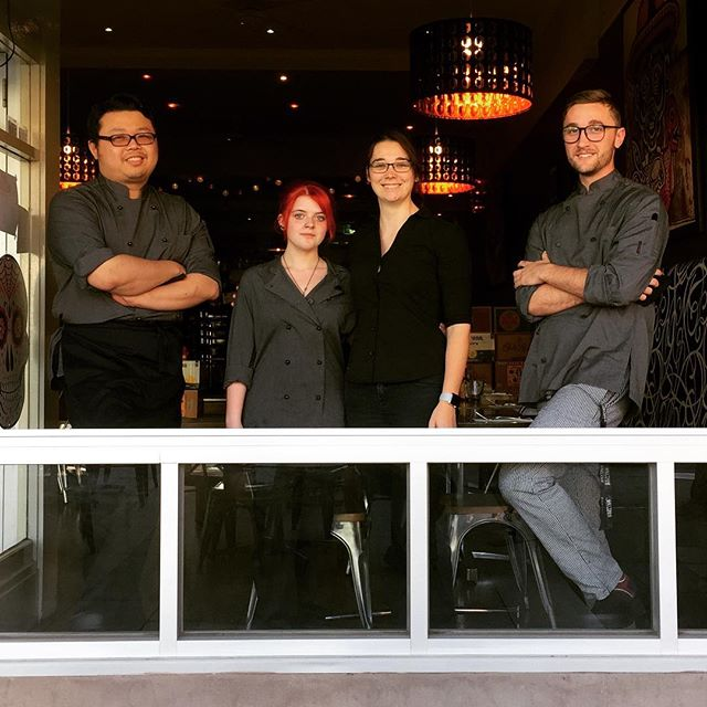 The full-time team at Mojo Mama would like to introduce themselves to the public! Theses guys will be at the restaurant every day to give you your Mexican needs!  Left: Chef Ray, Chef Jen, Floor Alicia, Chef Kyran . . . . #mexican #mexicanrestaurant #food #team #teammates #together #mojo #mojomama