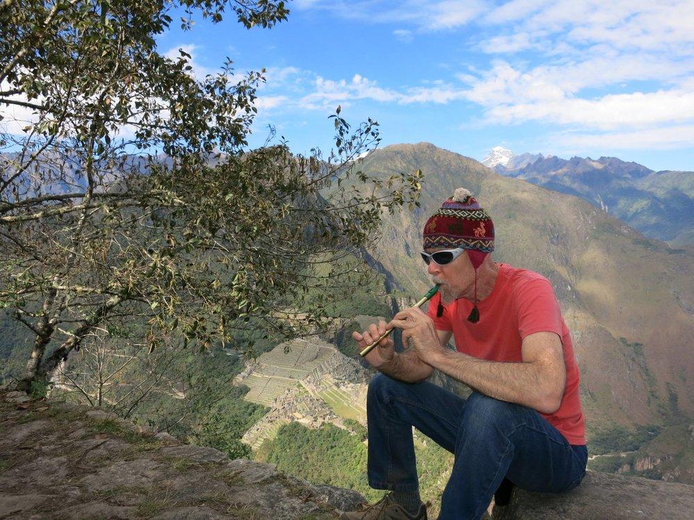 Jasun Martz recording at Machu Picchu, Peru