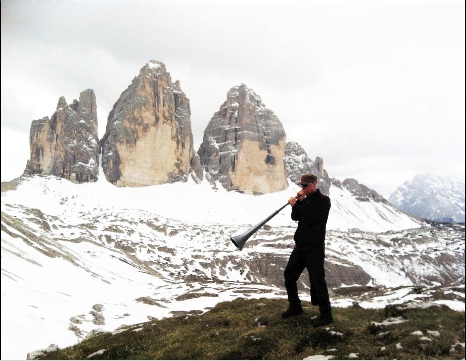 Jasun Martz recording in the Dolomites, Italy