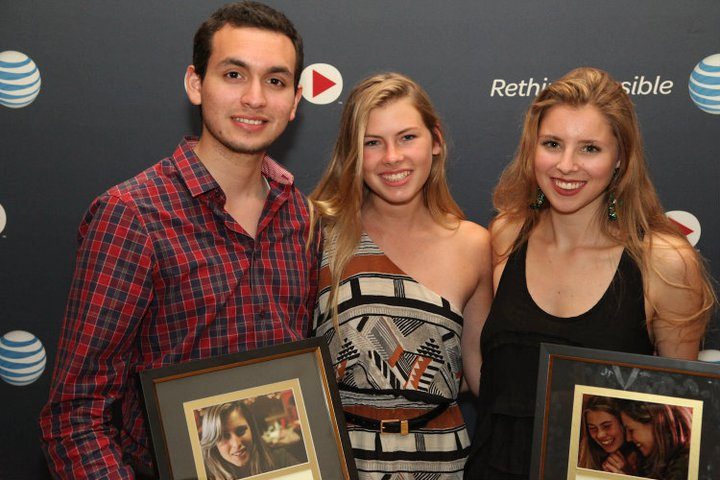JUNE 2011. LOS ANGELES, CALIFORNIA. Warner Brother's Studios. Carlos Valdivia, Amanda Yarosh, and Eliza receive the awards for Best Actress and Best Drama at Campus Movie Festival.