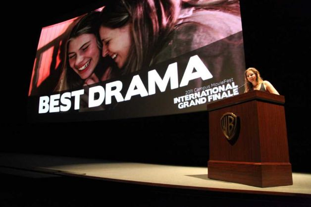 JUNE 2011. LOS ANGELES, CALIFORNIA. Eliza accepts the award for Best Drama for  MY KETCHUP SMILES  at Campus Movie Festival's International Grand Finale.