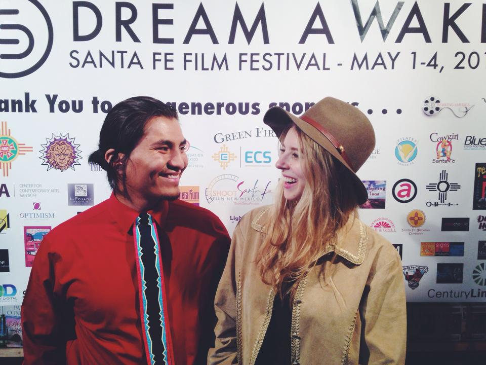 May 2014. SANTA FE, NEW MEXICO. Eliza and Garrett Yazzie at the Santa Fe Film Festival before the screening of   WITHOUT FIRE   at the Jean Cocteau Theater.