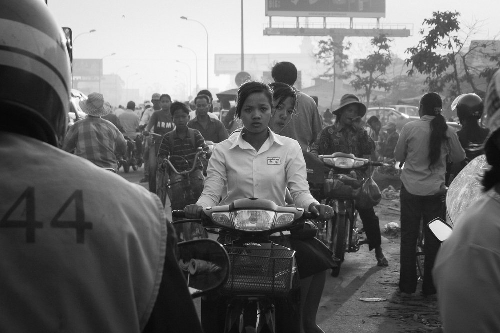 Morning rush hour on the outskirts of Siem Reap, Cambodia