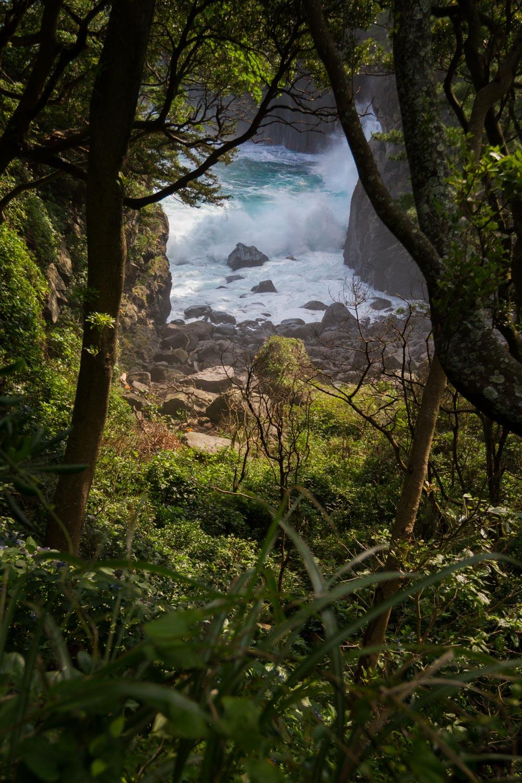 Waves crash against an inlet along the Jogasaki Coast on Japan's Izu Peninsula