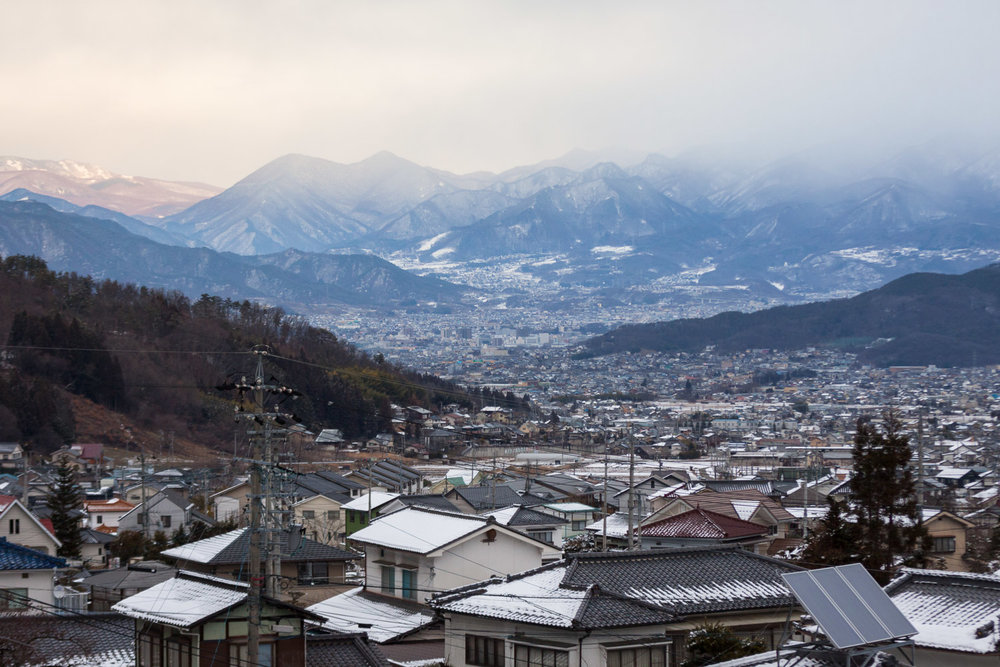 A winter mountain view of Ueda, Japan from Bessho Onsen