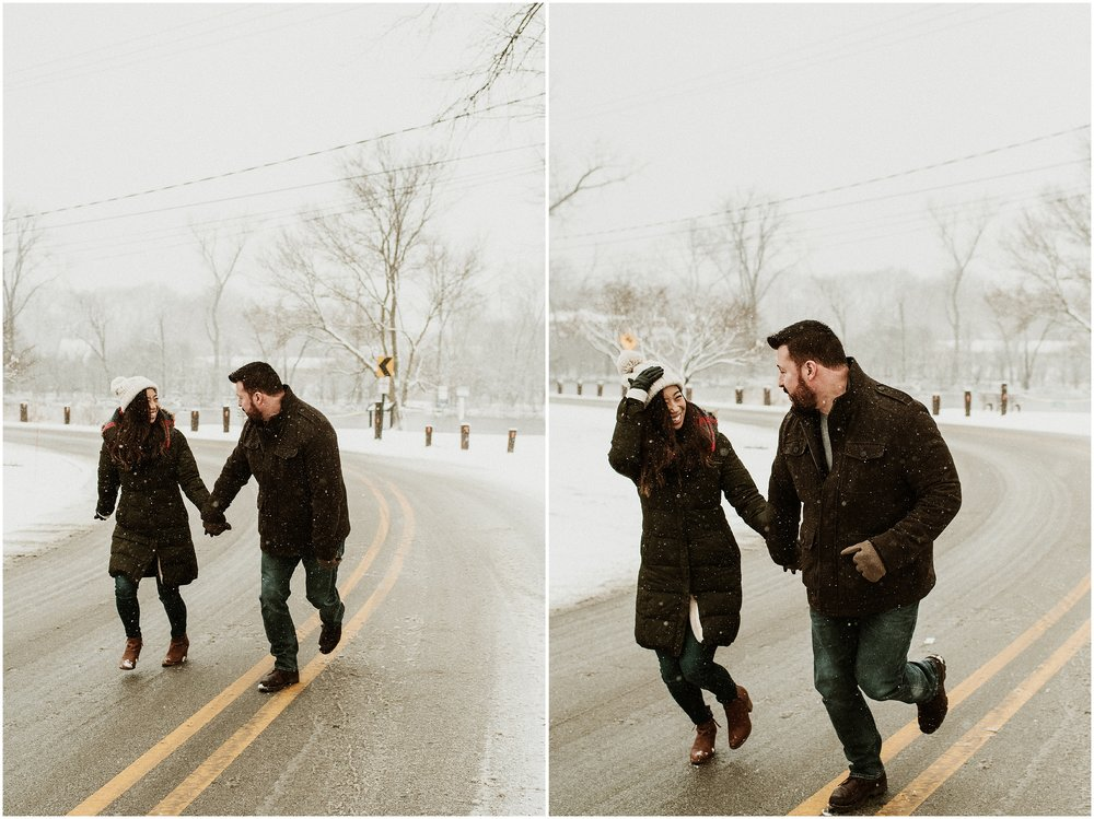 Cindy and David | Snowy Winter Engagement Session | Graue Mill & Museum | Oak Brook, IL