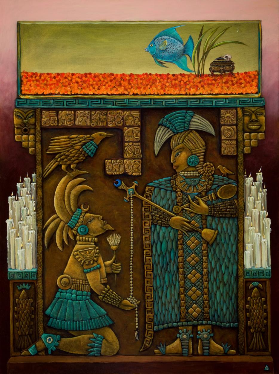 """Mayan Moon, Mother & Queen, 2008 – 52""""x 69"""""""