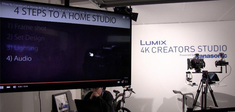 4K CREATORS STUDIOとして、LUMIXを活用した動画制作のレクチャーを行うブースも設けられていた。