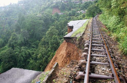 Landslide damage to the Darjeeling Himalayan Railroad, a World Heritage Site. Image: Indian Express