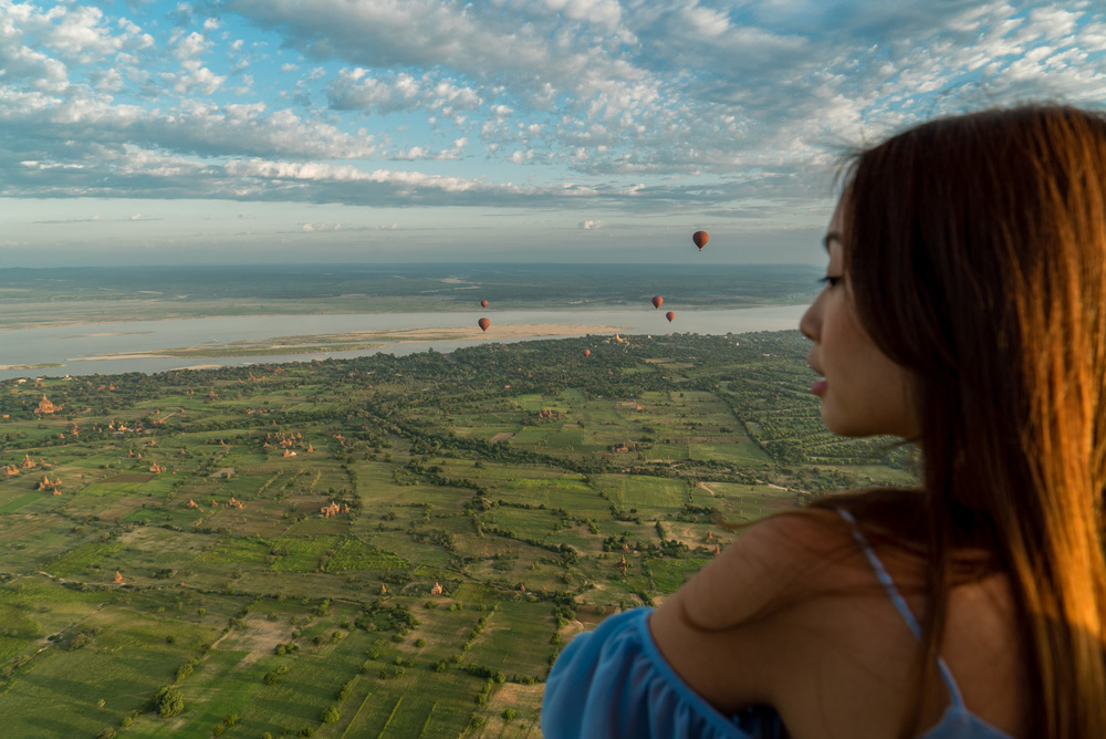 Bird's eye view over the ancient kingdom of Myanmar, overlooking Irrawaddy River