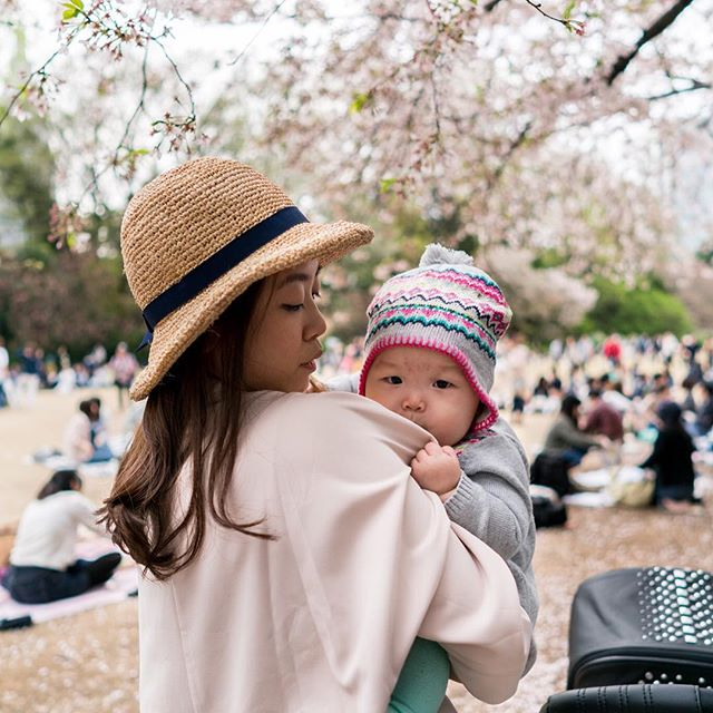 A tender moment between mummy and Leia 😍  #cherryblossom #japan #shinjuku #hanami