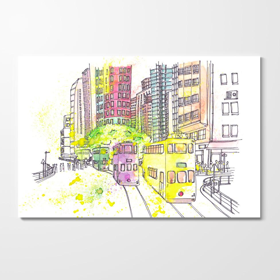 Miles of Happiness Postcard - Wan Chai Tramways, Hong Kong