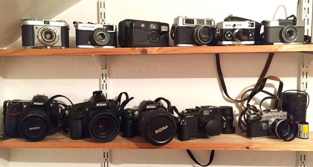35mm camera collection (inc Nikon D300s and D610 in bottom left)