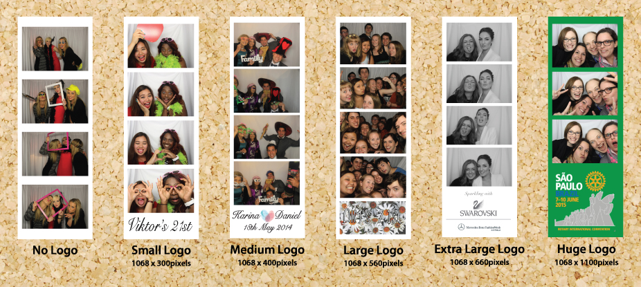 Logo sizing, photos taken from previous photo booth hires. Click to enlarge