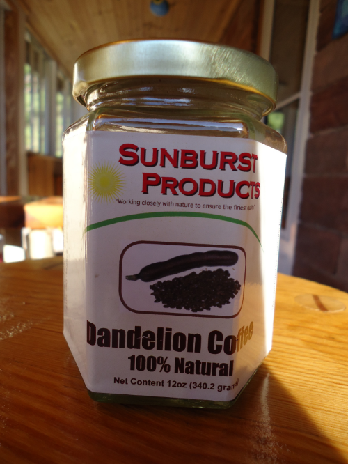 Dandelion Coffee jar on my front porch in Northern NY, USA