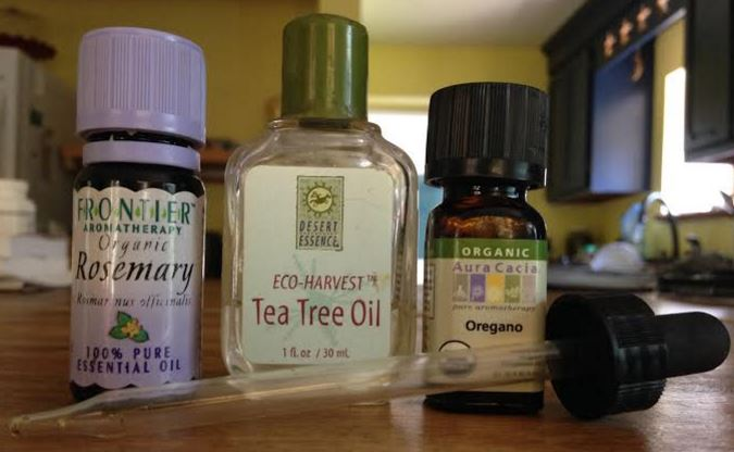 Essential oils I used: Rosemary, Tea Tree, and Oregano as seen above. A couple of times I used Thyme essential oil.