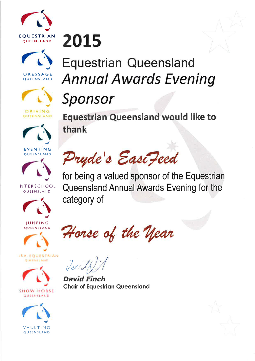 2015 Equestrian Awards Night - Horse of the Year