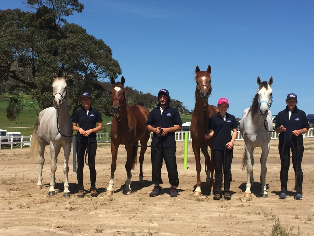 Left to right. Kaylea Maher, Akhmed Pshunov (both trainers of Rushoz endurance), Brooke Marshal (1st Junior) and Amanda Doyle with our Quilty mounts prior to competition at Lexton Victoria.