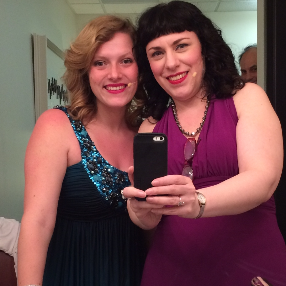Megan Reilly and Deb Rabbai (and a lurker) in the dressing rooms.
