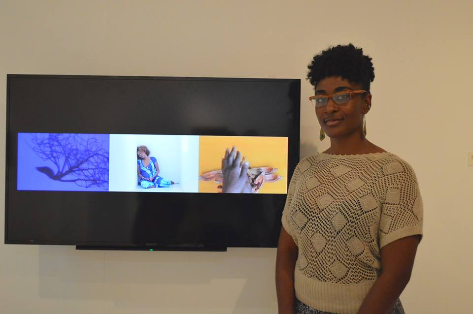 "Opening of  the Jamaica Biennial with my film ""Off Track, Moving Forward"". Photo by Deborah Anzinger"