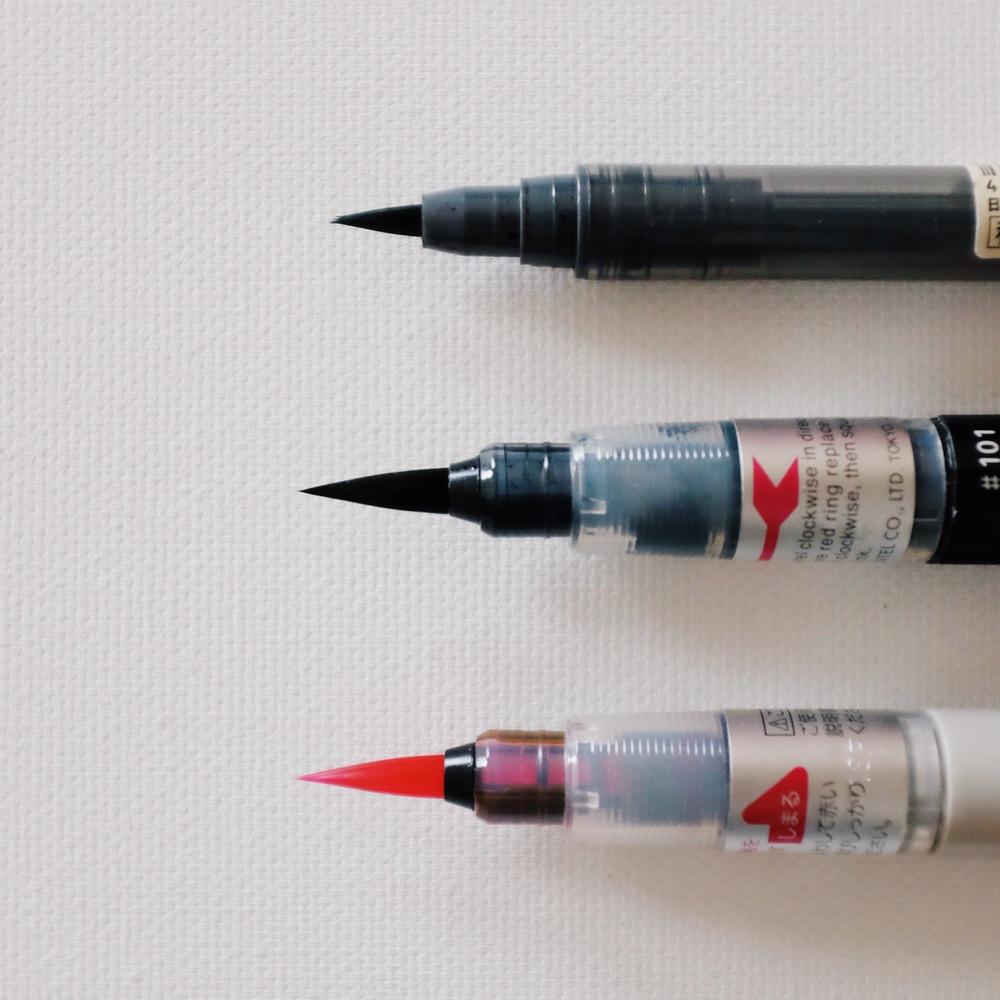 brush pens // muji + pentel