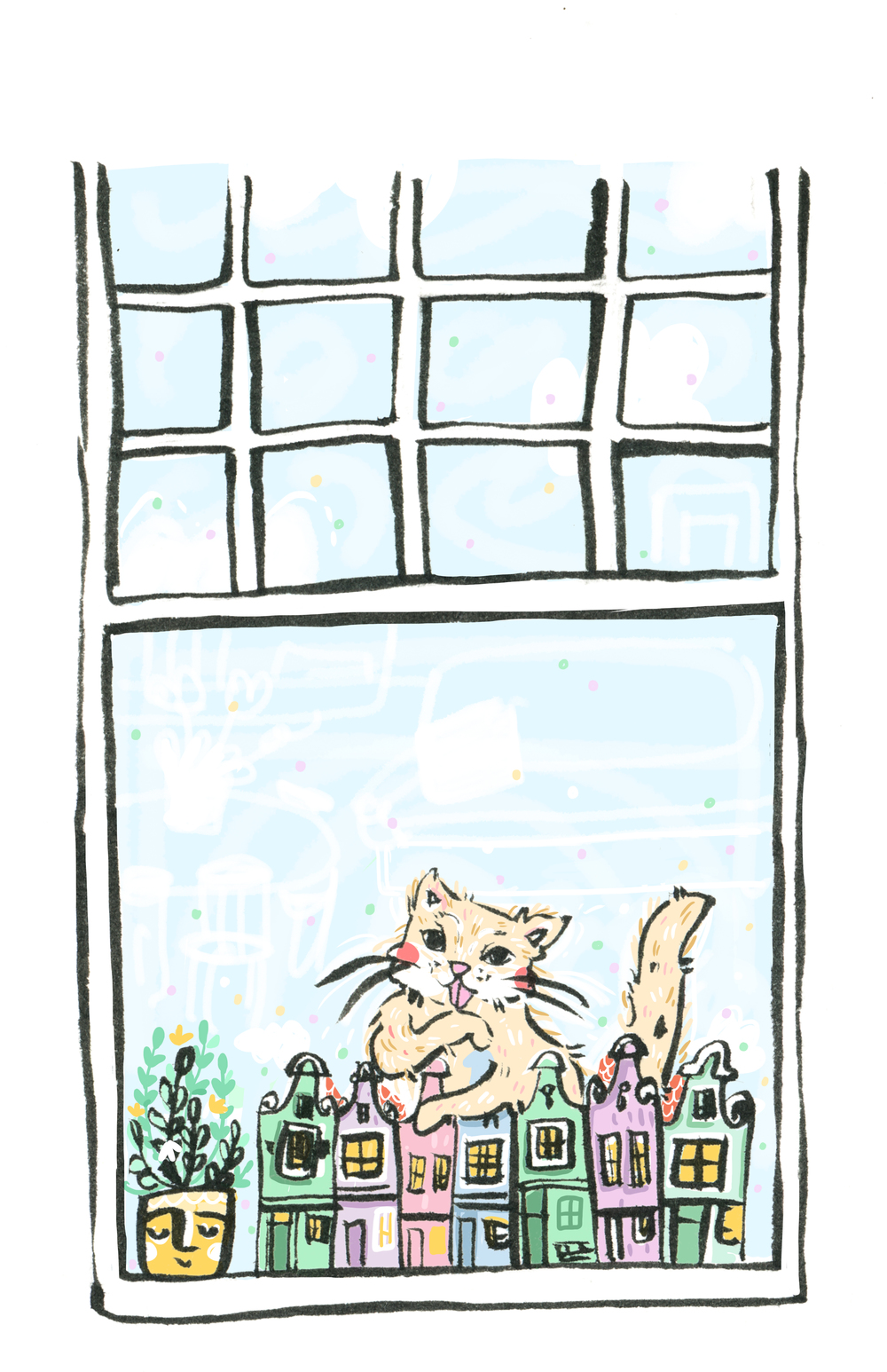 Cat in the Window Print